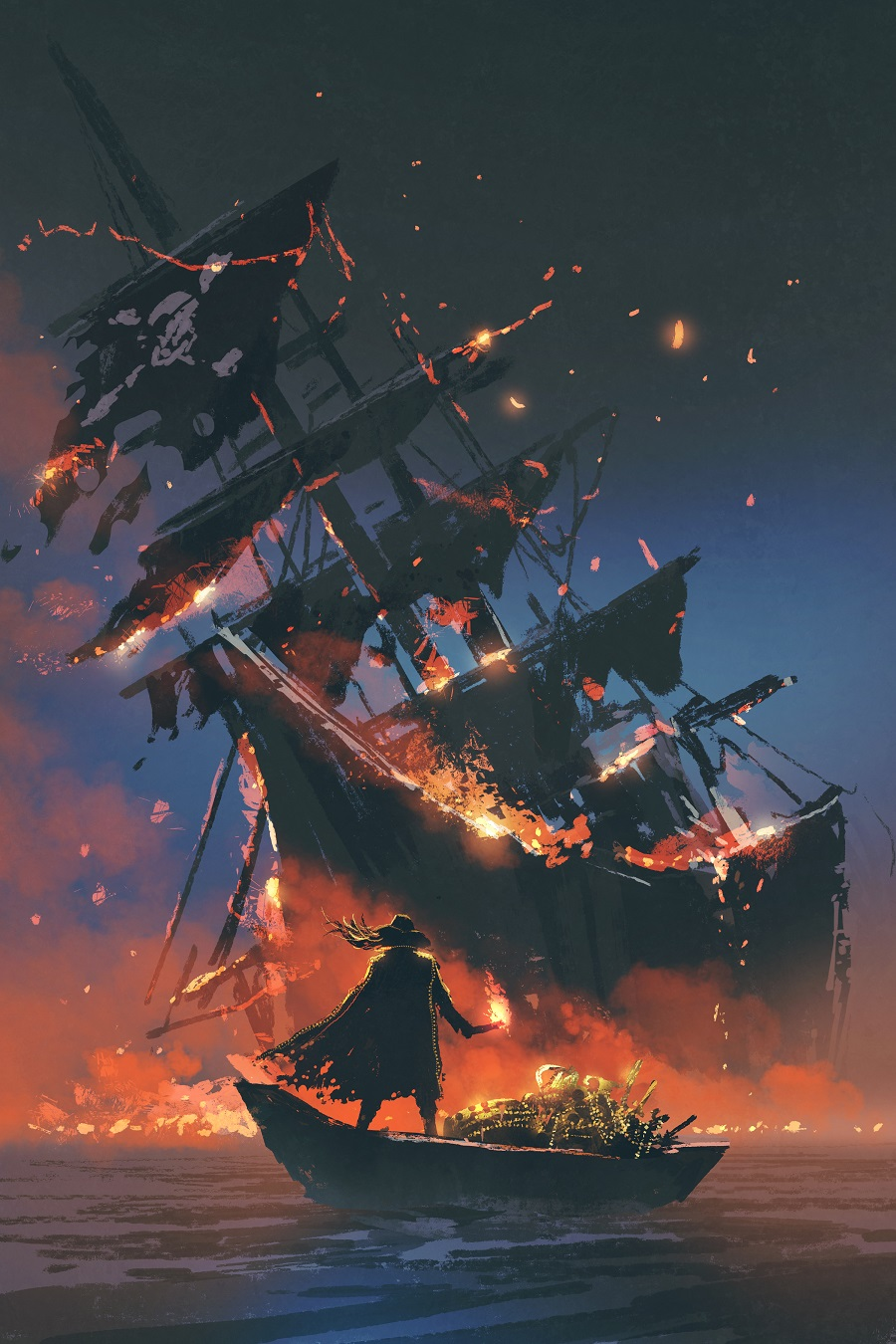 This is a mighty Pirate Ship, all aflame, sure to make a mighty fine Piratical Story!